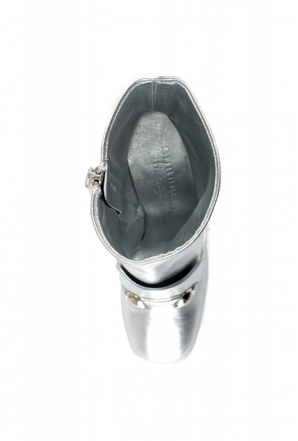 """Burberry Women's """"Brabant"""" Silver Leather Heeled Bootie Shoes: Picture 7"""