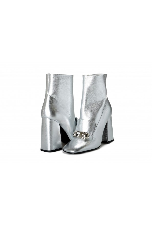 """Burberry Women's """"Brabant"""" Silver Leather Heeled Bootie Shoes: Picture 8"""