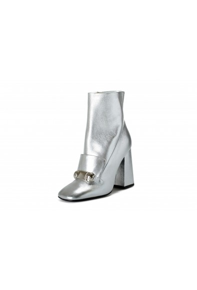 """Burberry Women's """"Brabant"""" Silver Leather Heeled Bootie Shoes"""