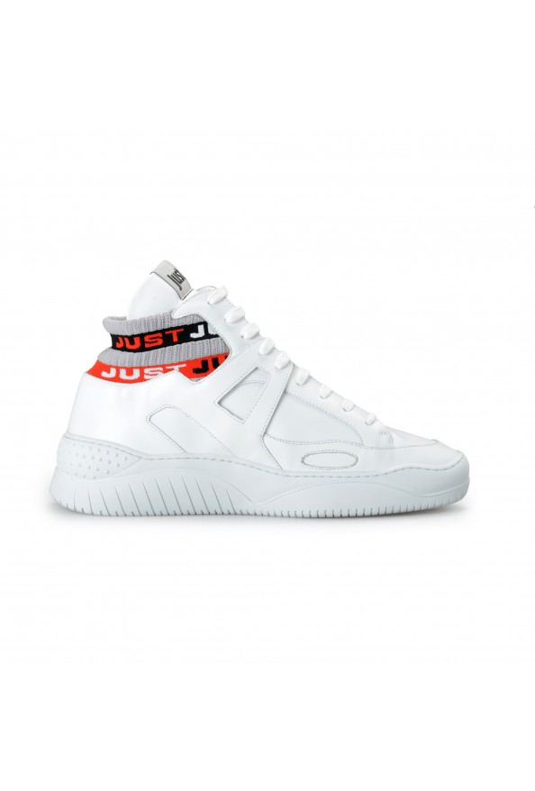Just Cavalli Men's White Leather High Top Fashion Sneakers Shoes: Picture 4
