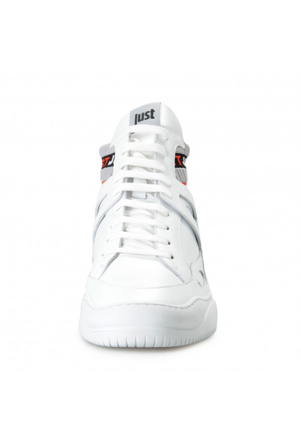 Just Cavalli Men's White Leather High Top Fashion Sneakers Shoes: Picture 5