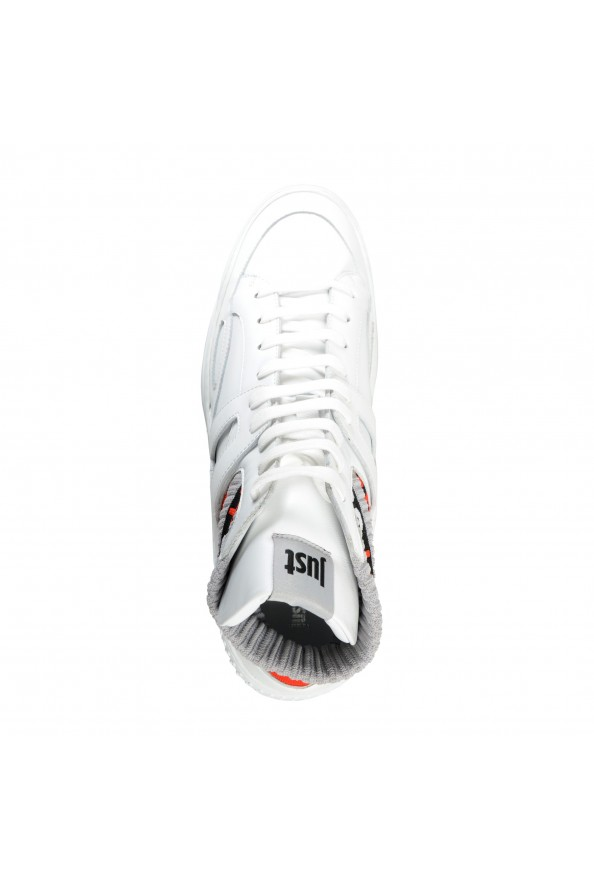 Just Cavalli Men's White Leather High Top Fashion Sneakers Shoes: Picture 7