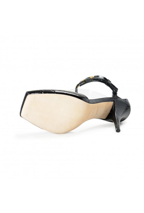 "Burberry Women's ""CITY"" Black Croc Print Leather High Heel Pumps Shoes: Picture 6"