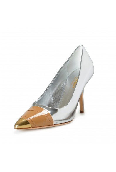"""Burberry Women's """"ANNALISE"""" Silver Leather High Heel Pumps Shoes"""