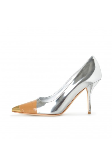 """Burberry Women's """"ANNALISE"""" Silver Leather High Heel Pumps Shoes: Picture 2"""
