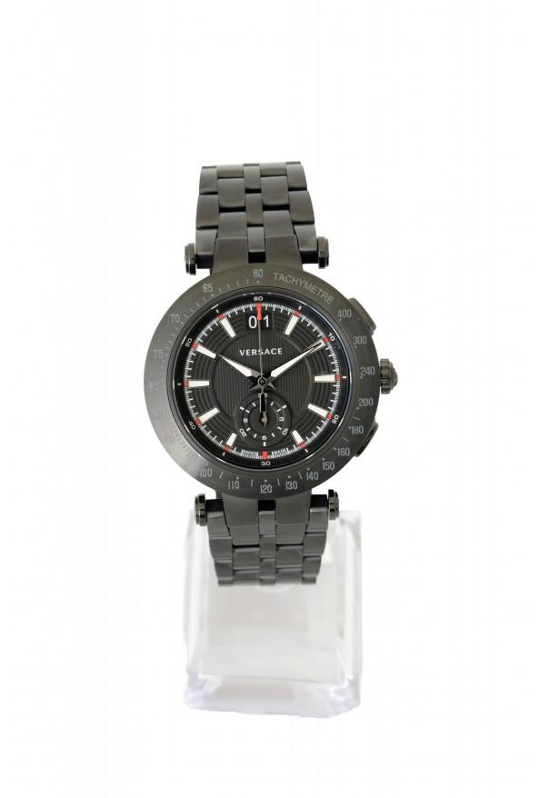 Versace Men's Round Stainless Steel Black Dial Watch