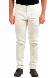 "Hugo Boss Men's ""Broad1-W"" Ivory Flat Front Casual Pants"