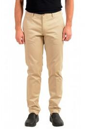 "Hugo Boss Men's ""Broad-W"" Beige Flat Front Casual Pants"