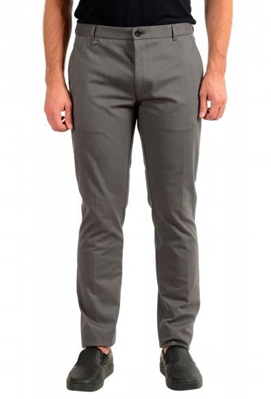 """Hugo Boss Men's """"Heldor183"""" Gray Geometric Print Flat Front Casual Pants"""