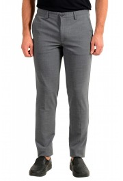 "Hugo Boss Men's ""Kaito3-Stitch1"" Slim Fit Gray Wool Flat Front Casual Pants"