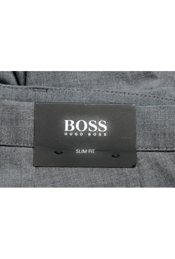 """Hugo Boss Men's """"Kaito3-Stitch1"""" Slim Fit Gray Wool Flat Front Casual Pants: Picture 4"""