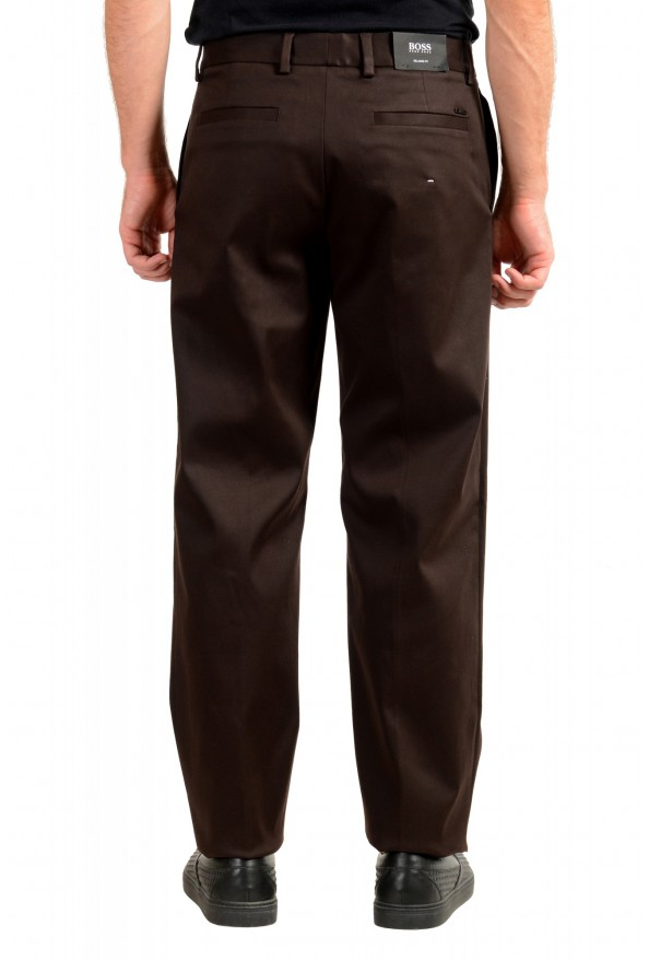 """Hugo Boss Men's """"Parko-SPW1"""" Relaxed Fit Brown Flat Front Casual Pants: Picture 3"""