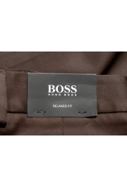 """Hugo Boss Men's """"Parko-SPW1"""" Relaxed Fit Brown Flat Front Casual Pants: Picture 4"""
