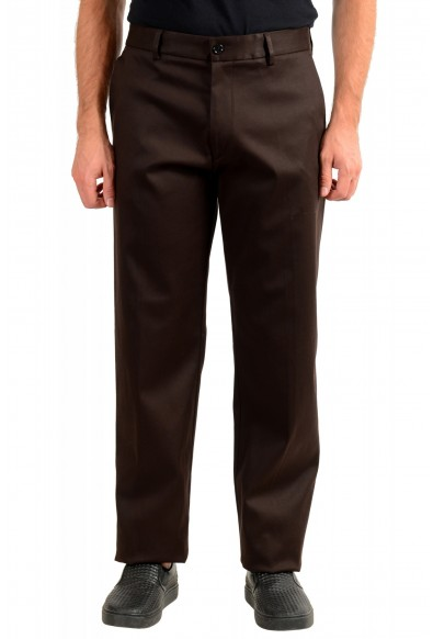"""Hugo Boss Men's """"Parko-SPW1"""" Relaxed Fit Brown Flat Front Casual Pants"""