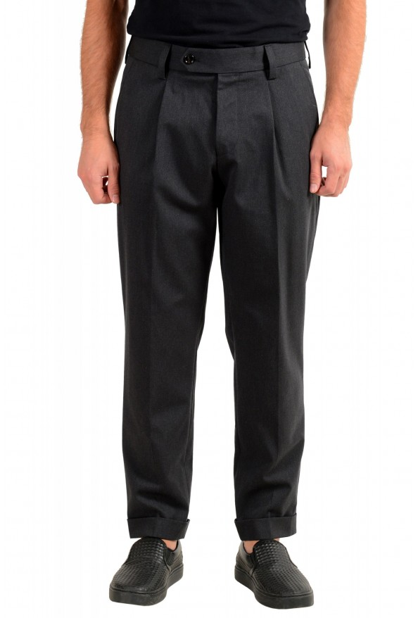 "Hugo Boss Men's ""Porto"" Gray Wool Pleated Casual Pants"