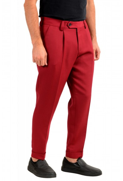 """Hugo Boss Men's """"Porto"""" Red Wool Pleated Casual Pants: Picture 2"""