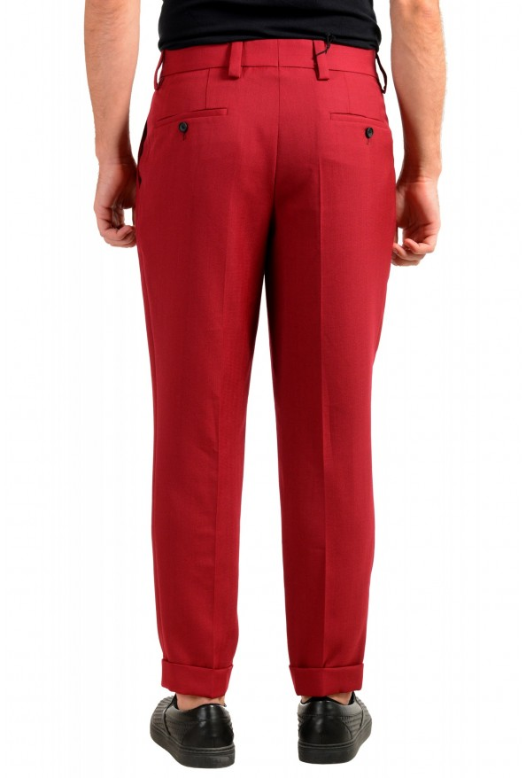 """Hugo Boss Men's """"Porto"""" Red Wool Pleated Casual Pants: Picture 3"""