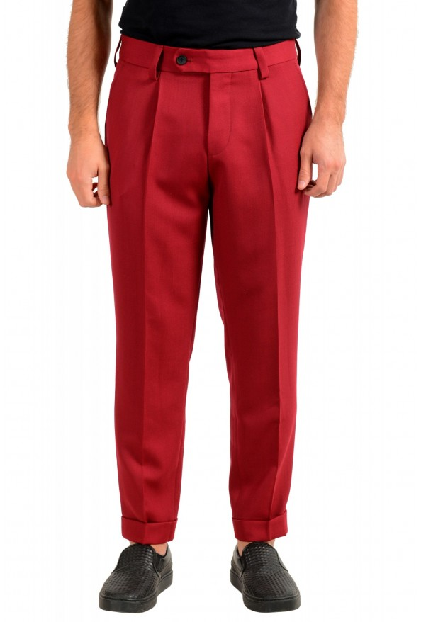 "Hugo Boss Men's ""Porto"" Red Wool Pleated Casual Pants"