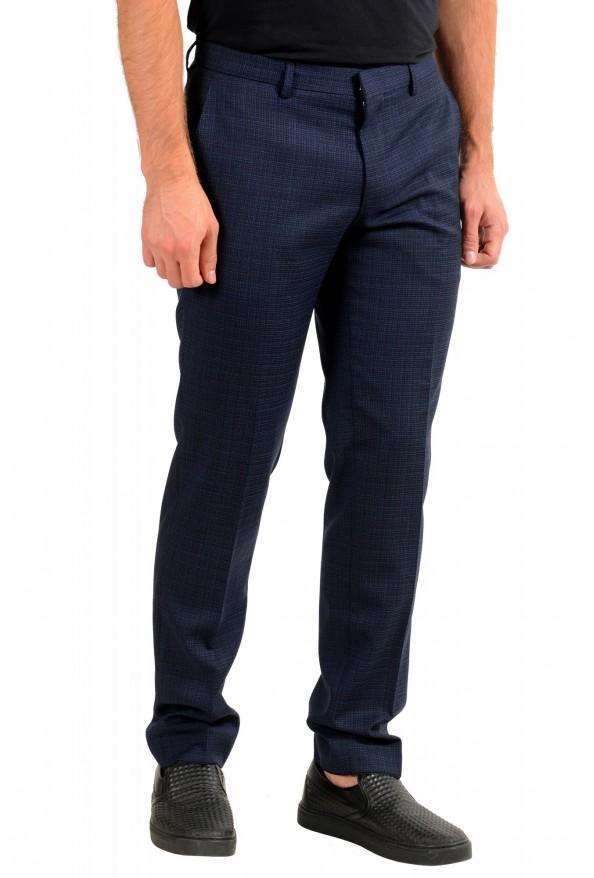 "Hugo Boss Men's ""Genius5"" Slim Fit 100% Wool Blue Plaid Dress Pants: Picture 2"
