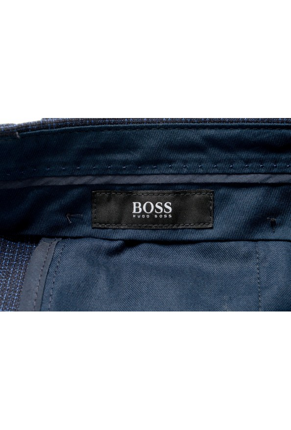 "Hugo Boss Men's ""Genius5"" Slim Fit 100% Wool Blue Plaid Dress Pants: Picture 4"