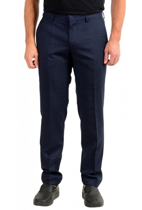 "Hugo Boss Men's ""Genius5"" Slim Fit 100% Wool Blue Plaid Dress Pants"