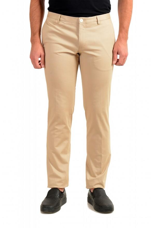 "Hugo Boss Men's ""Gerald182W"" Slim Fit Beige Flat Front Casual Pants"
