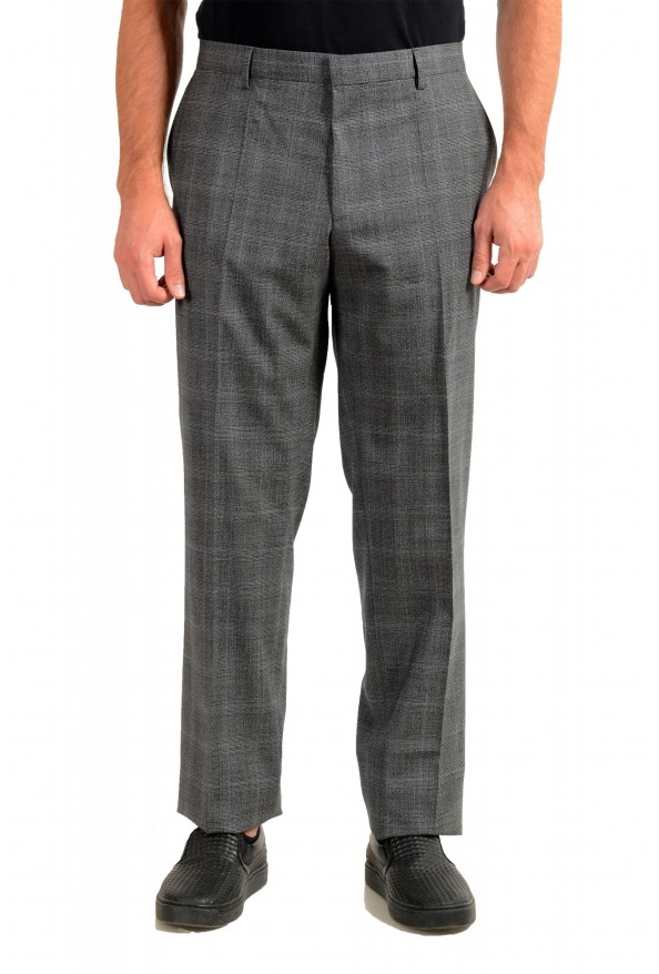 "Hugo Boss Men's ""Genesis4"" Gray Wool Flat Front Dress Pants"