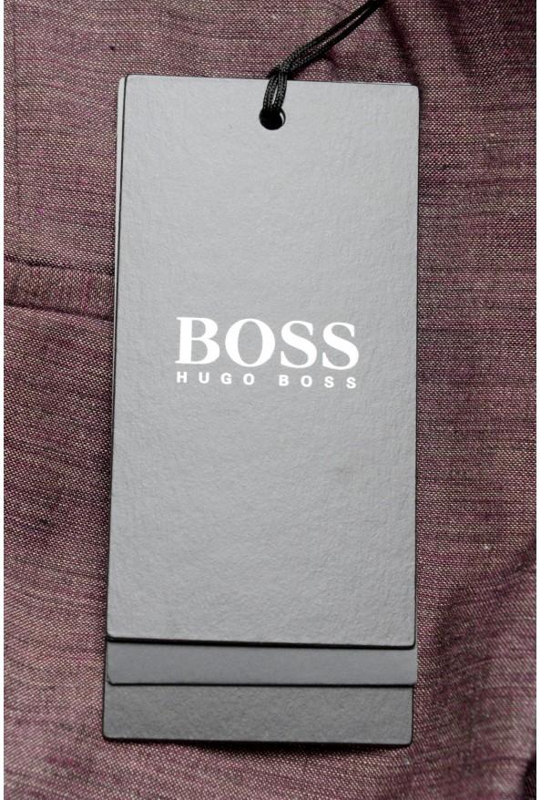 "Hugo Boss Men's ""Pitko2"" Purple Wool Flat Front Casual Pants: Picture 3"