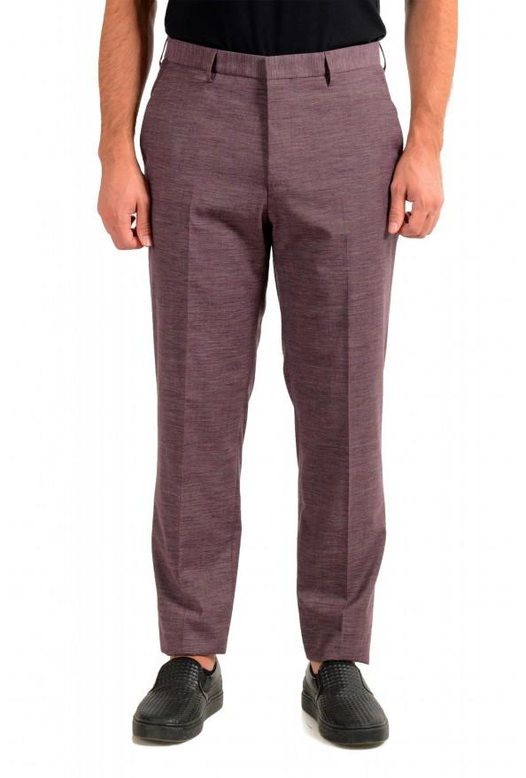 "Hugo Boss Men's ""Pitko2"" Purple Wool Flat Front Casual Pants"
