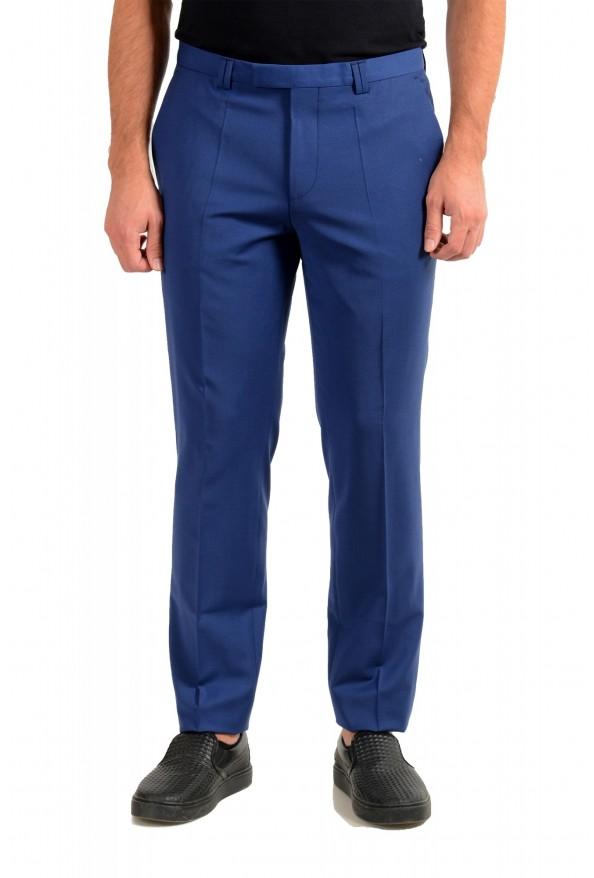 "Hugo Boss Men's ""Hesten182"" Extra Slim Fit Blue Wool Dress Pants"