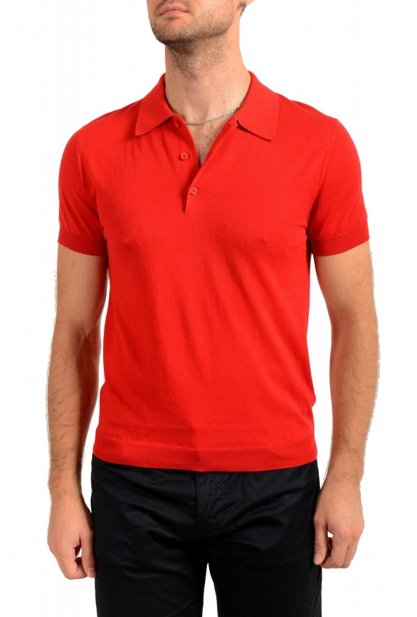 """Prada Men's """"UMA056"""" Bright Red Short Sleeve Polo Shirt"""