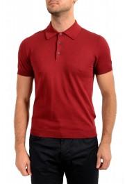 "Prada Men's ""UMA056"" Burgundy Short Sleeve Polo Shirt"