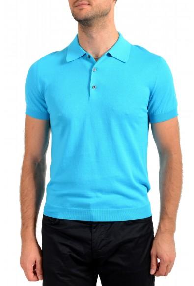 """Prada Men's """"UMA056"""" Bright Blue Short Sleeve Polo Shirt"""