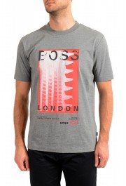 "Hugo Boss Men's ""Tiburt 231"" Gray Crewneck Graphic Print T-Shirt"