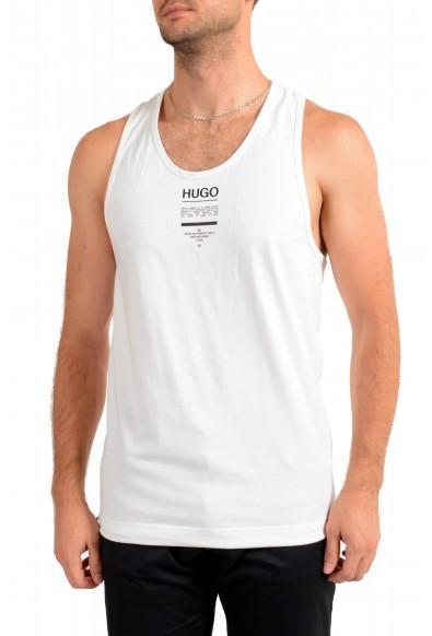 """Hugo Boss Men's """"TREPTOP"""" White Logo Print Tank Top T-Shirt"""