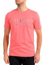 """Hugo Boss Men's """"Tee 3"""" Pink Logo Print Crewneck T-Shirt"""