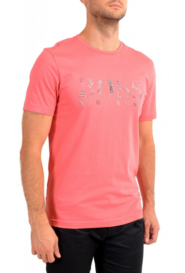 "Hugo Boss Men's ""Tee 3"" Pink Logo Print Crewneck T-Shirt: Picture 2"