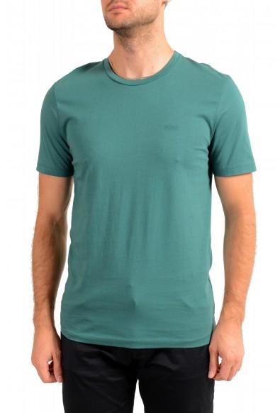 "Hugo Boss Men's ""Lecco 80"" Green Logo Print Crewneck T-Shirt"