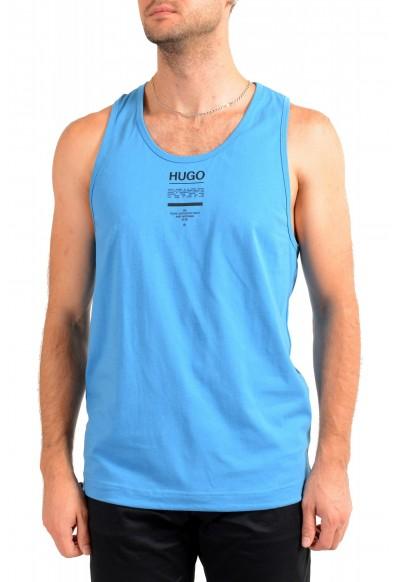 "Hugo Boss Men's ""TREPTOP"" Blue Logo Print Tank Top T-Shirt"