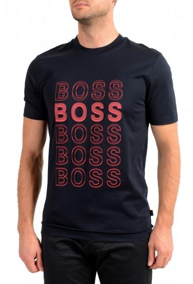 "Hugo Boss Men's ""Tiburt 204"" Blue Graphic Print Crewneck T-Shirt"