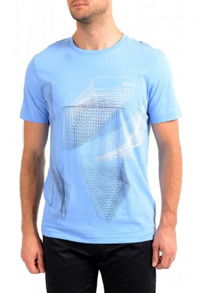 "Hugo Boss Men's ""Tee 2"" Blue Logo Print Crewneck T-Shirt"