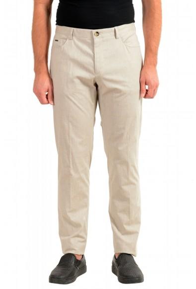 "Hugo Boss Men's ""Gaetano1"" Beige Flat Front Casual Pants"