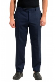 """Hugo Boss Men's """"T-Bryce"""" Blue Wool Flat Front Pants"""