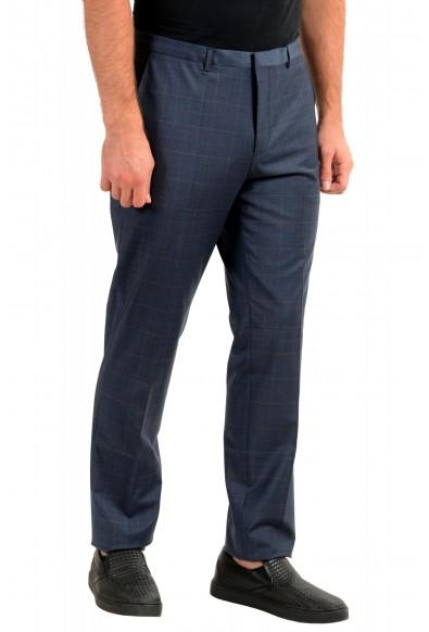 "Hugo Boss Men's ""Hesten194"" Blue Plaid Wool Flat Front Dress Pants: Picture 2"