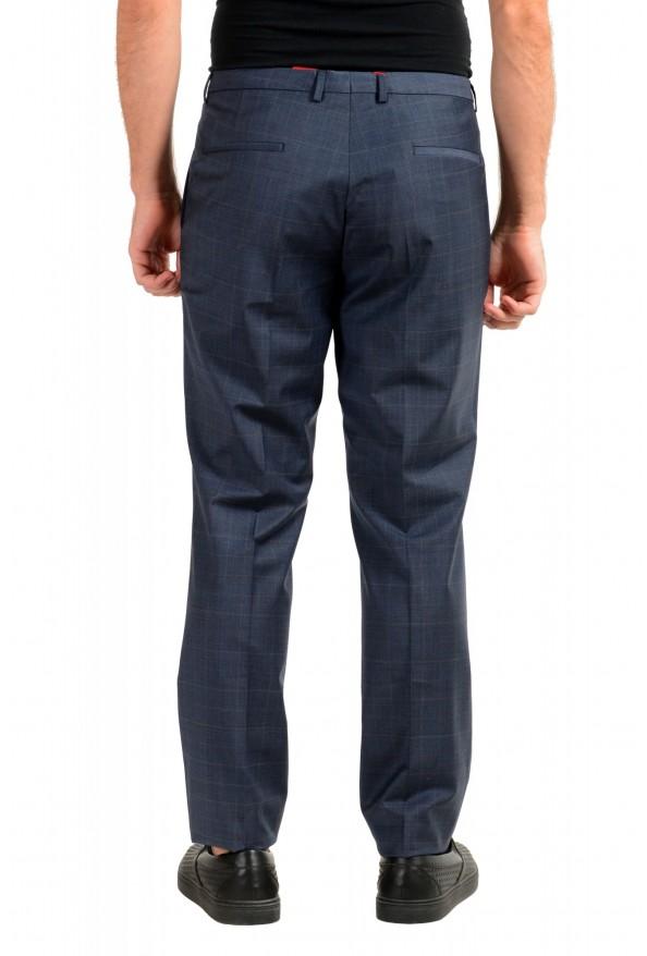 "Hugo Boss Men's ""Hesten194"" Blue Plaid Wool Flat Front Dress Pants: Picture 3"