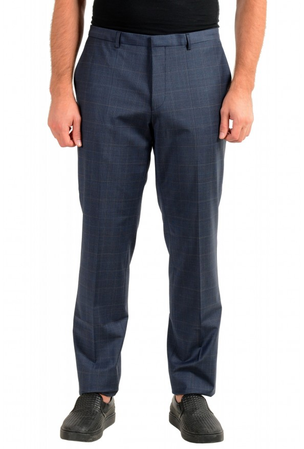 "Hugo Boss Men's ""Hesten194"" Blue Plaid Wool Flat Front Dress Pants"