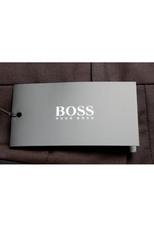 "Hugo Boss Men's ""Gido"" Brown 100% Wool Flat Front Dress Pants: Picture 4"