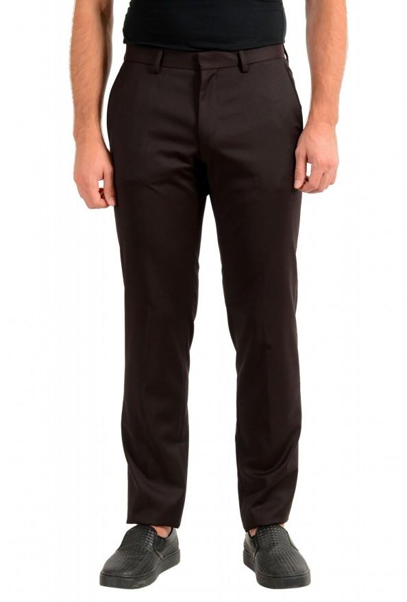"Hugo Boss Men's ""Gido"" Brown 100% Wool Flat Front Dress Pants"