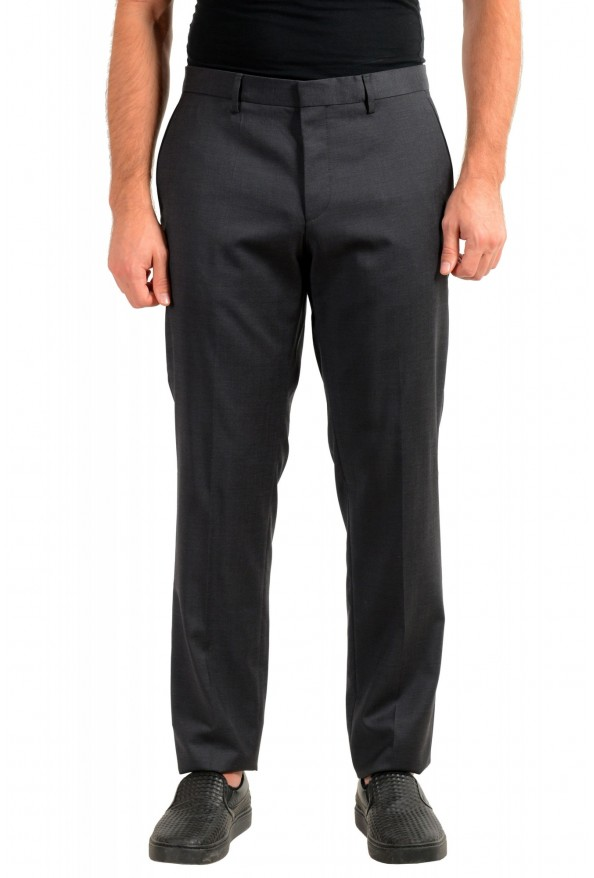 "Hugo Boss Men's ""Gido"" Gray 100% Wool Flat Front Dress Pants"