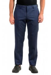 "Hugo Boss Men's ""Genius5"" Slim Fit Blue 100% Wool Flat Front Dress Pants"